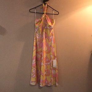 Funky multi colored patterned halter silk dress